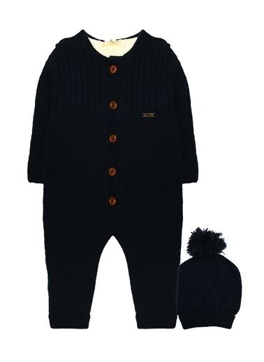 By Leyal For Kids  İçi Welsoft Kürklü Dışı Triko Tulum Ve Şapka Set-7032 Lacivert